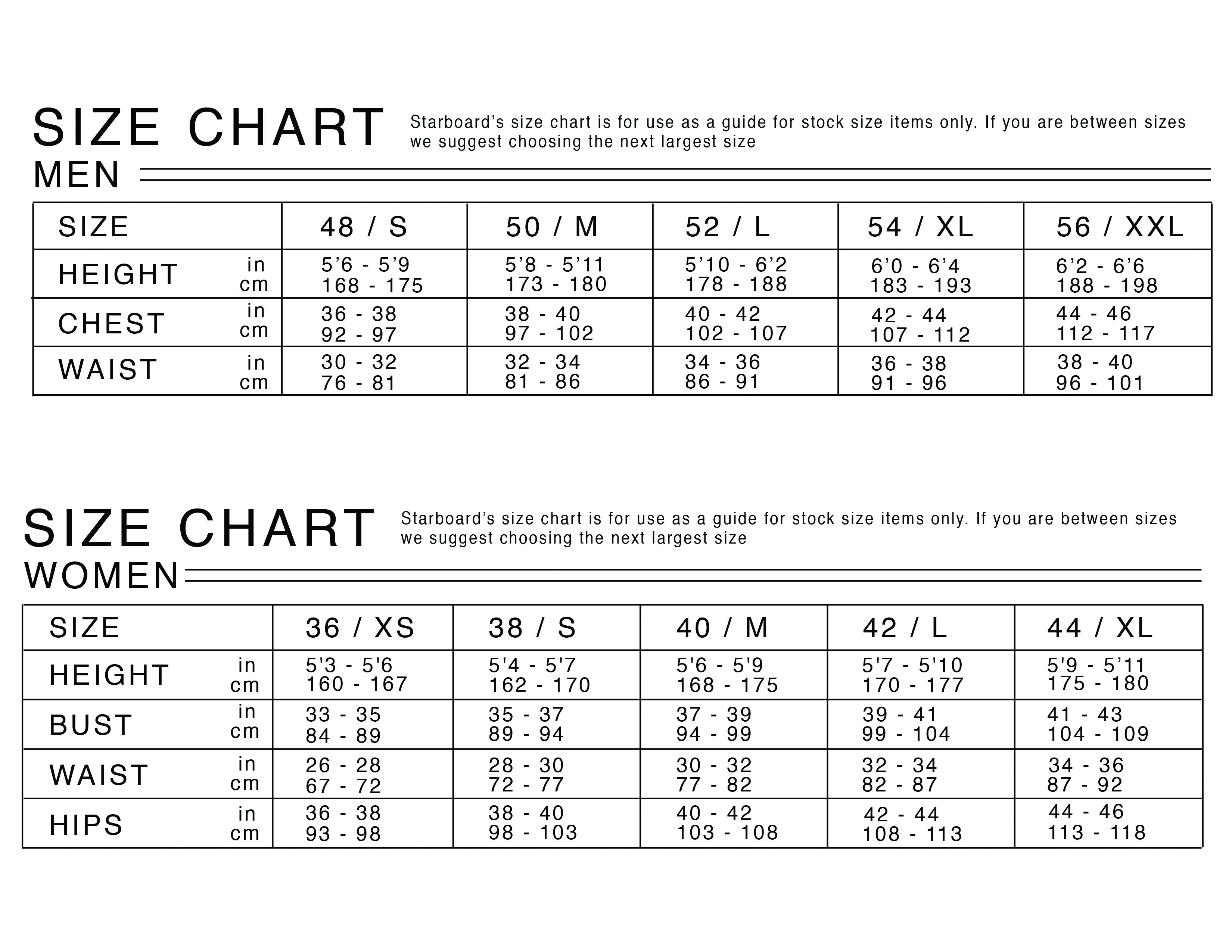 STB_SUP_Suit_Size Chart